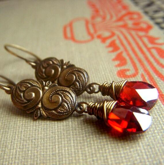 Cubic Zirconia Earrings on Brass . Red Wirewrapped Briolette Dangle . Nouveau