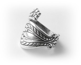 SILVER RING - Retro Silver Spoon Ring Rope Motif ~ Antique Silver Ring ~ Adjustable Statement Ring (RD-2)