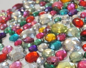 Acrylic Flatback Jewel Toned and Silvery Clear Round Gems for Crafts