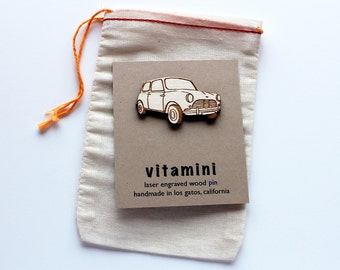 Classic Mini Cooper laser engraved wood pin
