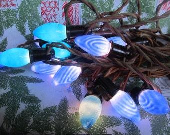 SALE Vintage 1940's 50's Ocean Blue Flame, Swirl Christmas Lights, C 9