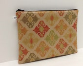 Clutch Purse, Ipad Mini Sleeve, Microsuede, Southwest Print in Red Green on Natural