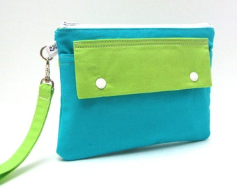 Clutch Purse Wristlet - Blue Green Color Block