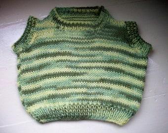 Baby Toddler Soft Knit Tank Top Vest Slipover  9 - 18 months green yellow by SpinningStreak