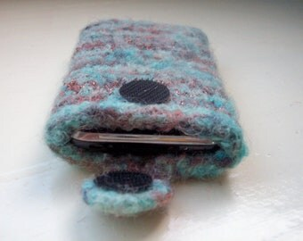 Cell phone cozy felted wool fun unisex turquoise teal brown by SpinningStreak