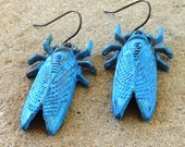 FUN fund - blue patina cicada dangle earrings