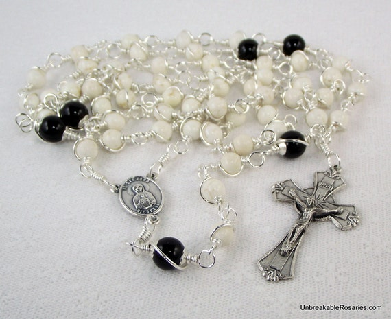 St Mark with Our Lady of Nicopeia Rosary Beads in Black Onyx and White Howlite Unbreakable Rosaries