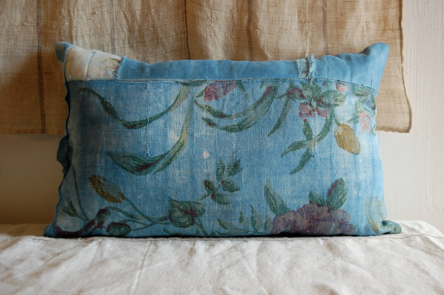 Faded Indigo Vintage Textile Pillow Organic Hand Dyed
