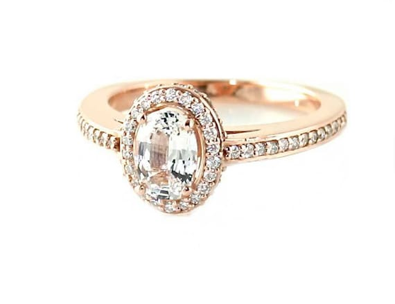 14K White Sapphire Engagement Ring Oval Halo Setting by ...