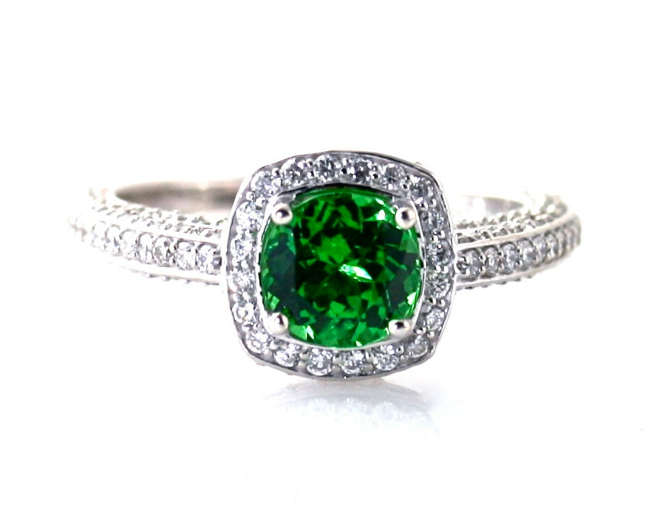14k Tsavorite Garnet Ring Engagement Ring Diamond Halo Setting