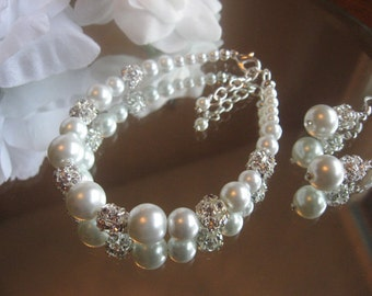 Swarovski Rhinestone and Pearl Silver Bracelet and Earring Set - Bride or Bridesmaid Pearl Jewelry Set