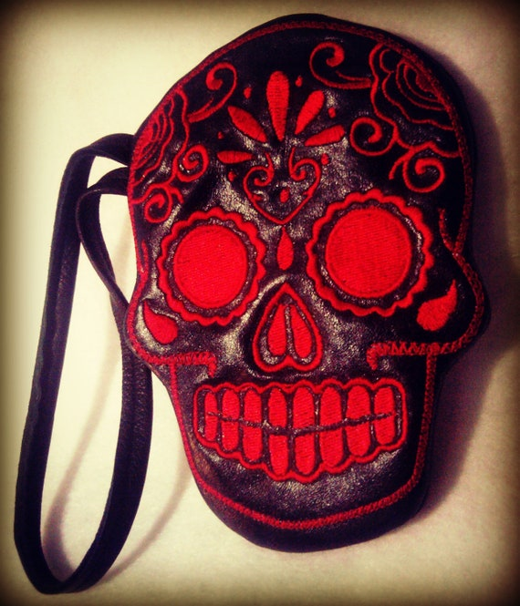 Leather wrist-let wallet day of the dead sugar skull red and black