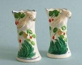 Vintage PARROTS handpainted small vases Japan
