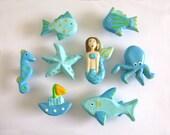Drawer Knob Set - Aqua and Turquoise Blue Ocean themed dresser knobs