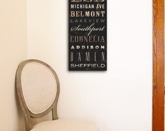 Chicago Neighborhoods Canvas typography graphic word art on gallery wrapped canvas by stephen fowler