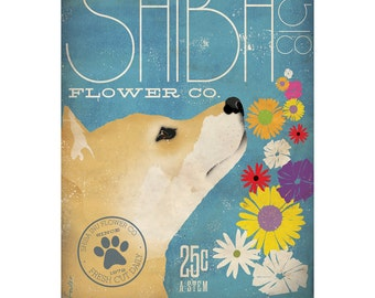 Shiba Inu Flower Company original graphic illustration on gallery wrapped canvas by Stephen Fowler