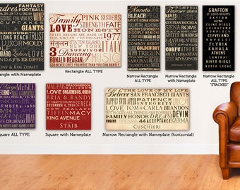 Custom Typography graphic art on canvas 14 x 14 by gemini studio  WEDDINGS BIRTHDAYS ANNIVERSARIES