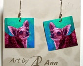 Chihuahua Earrings - Laminated Paper with Surgical Steel French Hooks - Ranlett