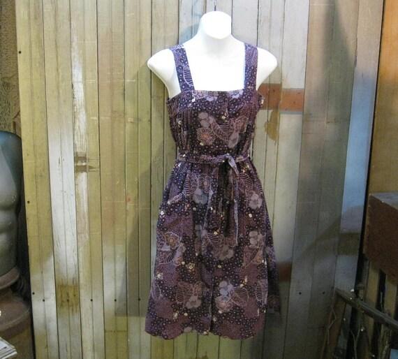Purple print 1970s dress Vintage Corduroy dots flowers Overalls sundress XS S