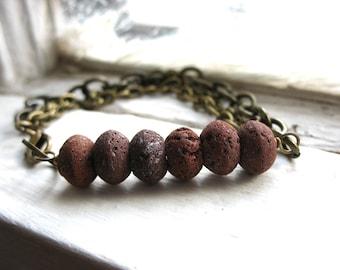 Red Lava Bracelet, Lava Rock Bracelet, Red Lava Rock Stone, Handmade Artisan Bracelet Jewelry, Lava Rock Jewelry, Stone Bracelet