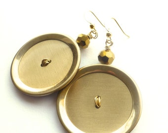BIG Bold Brass Gold Button Earrings