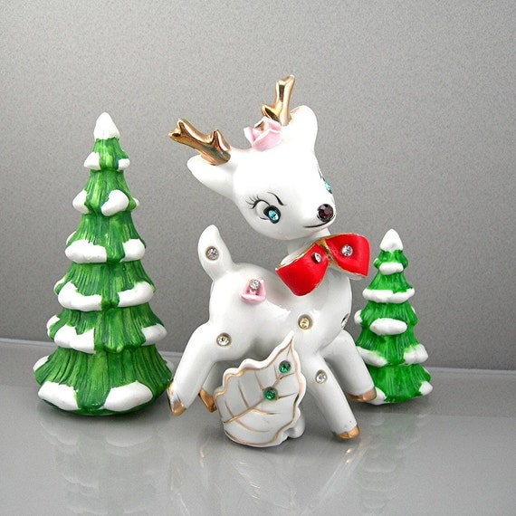 Vintage Christmas Reindeer Figurine White with Studded Rhinestones Red Bow Gold Accents Circa 1950s Holiday Decor Figure