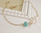 Sideways cross bracelet, gold, turquoise, white pearl bracelet, gold filled chain, cultured freshwater pearl cross