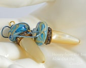 Aqua Lampwork Earrings with vintage MOP and crystals
