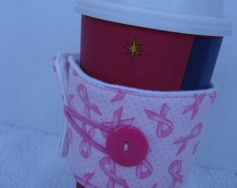 Coffee Cozy-Pink Ribbons & Dots (CC 22)