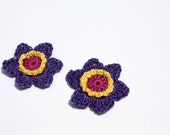 Crochet Flowers Accessories, Embellishments, Magenta, Yellow, and Violet