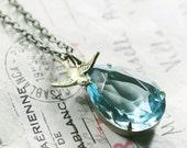 Aqua crystal necklace bridal blue jewel bird brass antique vintage style swallow wedding jewelry March birthstone aquamarine pendant