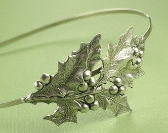 Holiday headband holly berry hostess leaf retro Christmas hair accessory hair band leaves silver