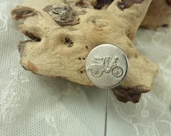 Lapel Pin -  Silver Tone Vintage Bike button
