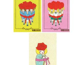 Set of Postcard  -Rose-