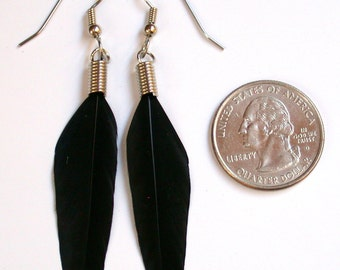 Perfect Black  Feather Earrings