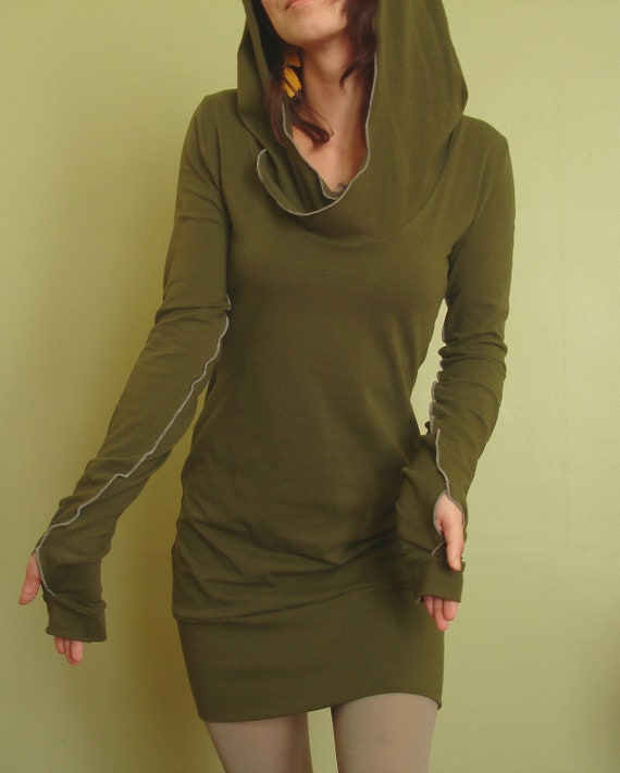 hooded tunic dress extra long sleeves w/thumb holes Dark Olive Green/womens tunic