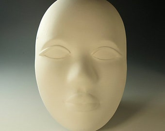 Pottery Face Ceramic Bisque Mask Wall Plaque Ready to Paint