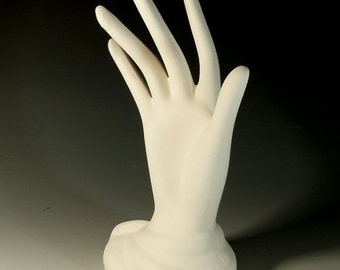 """Ceramic Bisque Ready to Paint Hand Jewelry Display 8"""" Tall"""