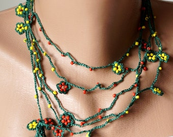 Red and yellow bead flower Necklace, Lariat, Bracelet - Turkish lace Work-OOAK