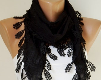SALE-Black Scarf. Lace Scarf. Woman Scarf.  Fashion Scarf