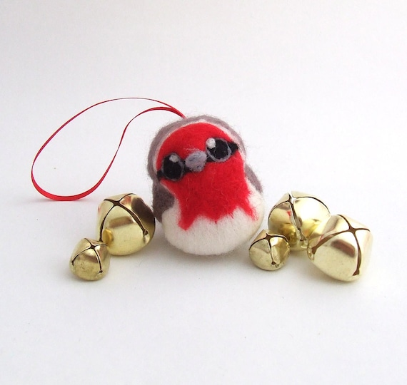 Robin Christmas Tree Decoration Needle Felted Robin Bird 1 Supplied