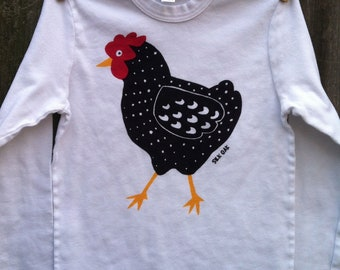 Dotty Chicken Hand Silkscreened Long Sleeve Child Tee 2, 4, 6, 8, 10, 12