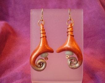 Inner Spiral Leather Earrings
