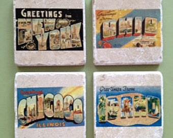 Marble coasters - Vintage city postcards