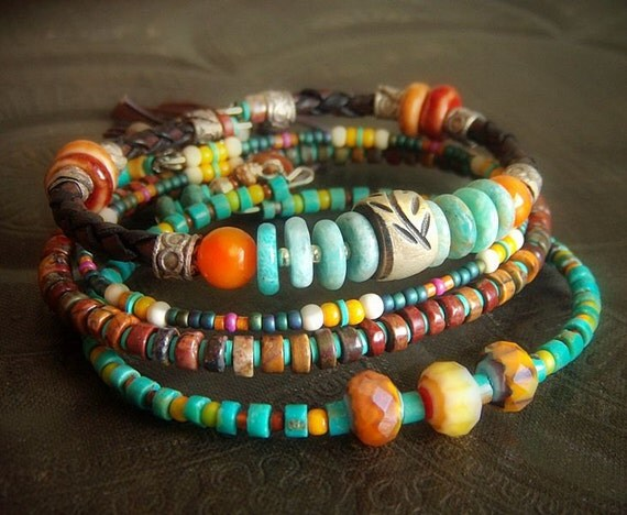 Turquoise, Amazonite, Jasper, Shell, Horn and African Beaded Leather Charm Bangle Set