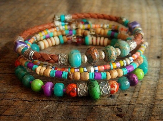 Jasper, Amazonite, Coco Shell, African Glass and Indian Charms Beaded Leather Bangle Set