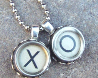 Typewriter Key Necklace, Reclaimed jewelry, Vintage Ivory Hugs and Kisses