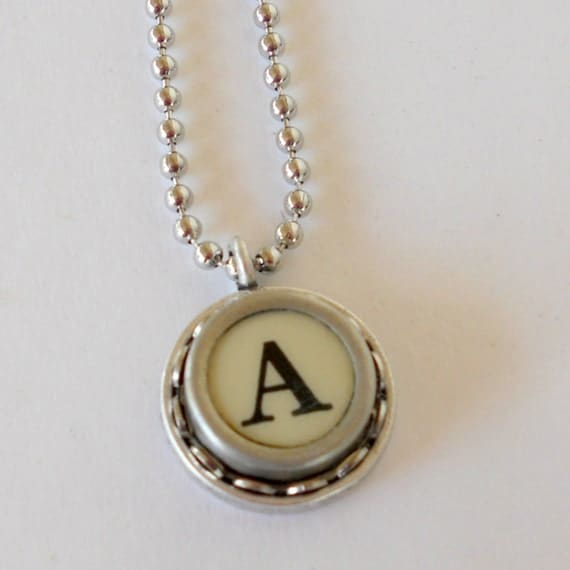 typography jewelry typewriter key necklace letter by With typewriter letter jewelry