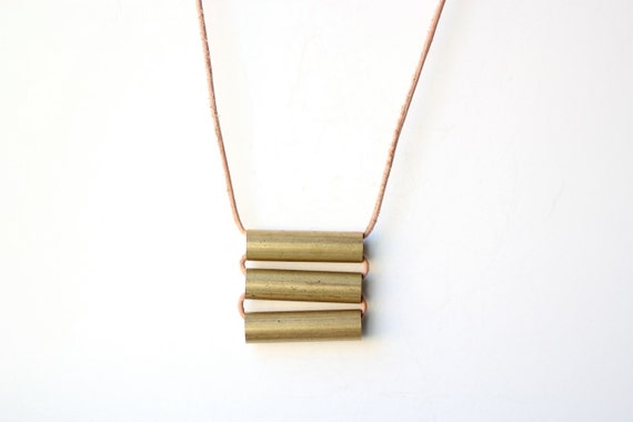 Minimalist Vintage Gold Bar Stripes Necklace on Natural Leather Cord