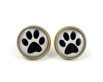 Dog Paw Stud Earrings - Animal Earring Posts - Animal Jewelry - Paw Print Jewelry - Pet Dog Lover Jewelry (E076)